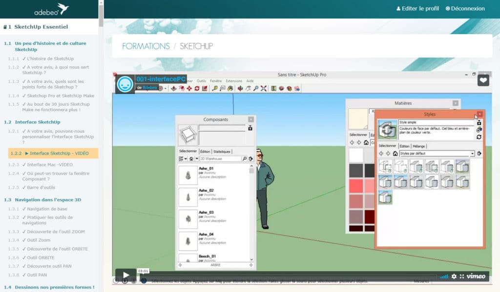elearning formation sketchup gratuite en ligne vidéo