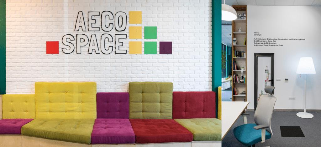 Reflet de la marque AECO Space à travers les spécifications de couleurs et de matériaux.